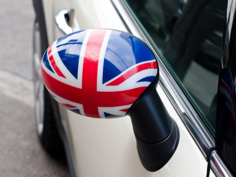 car mirror with the British flag